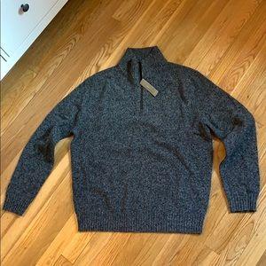 J Crew Men's Dark Gray Half Zip Sweater